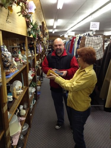 11:40 AM: My shopping coaches—the fabulous GypsyBiscuit and Dwayne—perusing items at one of the several thrifty, vintage-y stores we went to. Thank y'all for taking me!
