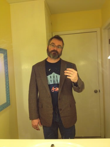 4:16 PM: One of my purchases today: a sport coat. Fancy! Now I kind of look like some sort of psychotic professor.
