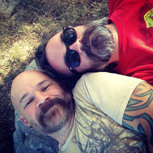 Relaxing with the Husbear at the park.