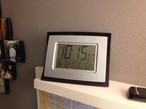 "10:11 AM: I ""overslept"". I've been doing that a lot lately. And it's cool in the house this morning. It was down to 58°F last night in this area. And I need to adjust the 4 minutes this clock is off, apparently."
