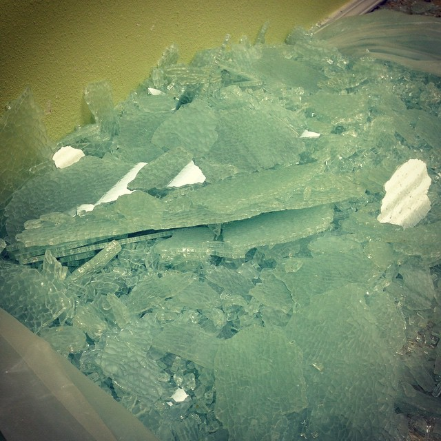 So... that's what 10 square feet of broken tempered glass looks like. The more you know!