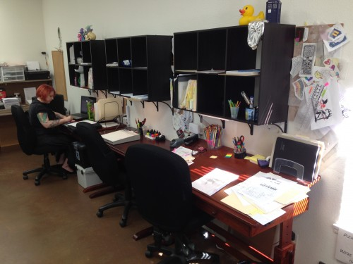 11:17 AM: New drafting tables and space for each of us at the studio. Part of the latest remodel.