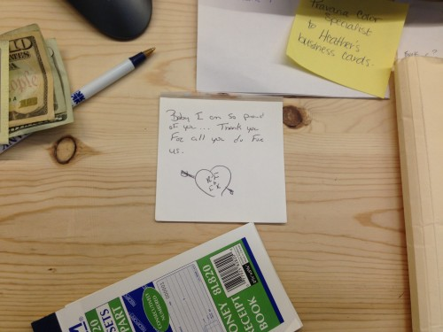 7:36 PM: The Husbear left me a note in my office.
