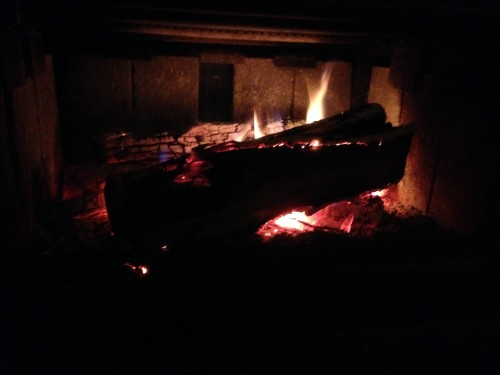 9:30 PM: Fire keeping the house warm. Because it's currently 26°F out at the moment.