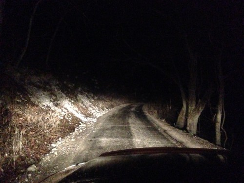 8:49 PM: The road home. The rattling around isn't helping the pain in my mouth any.
