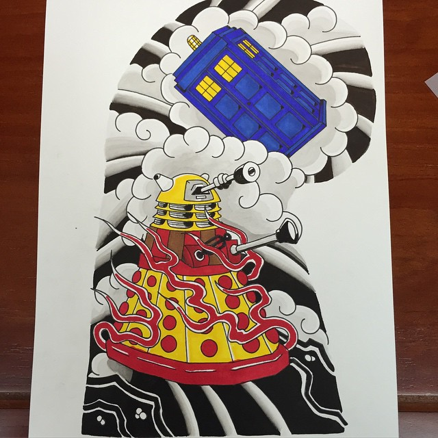 Thank you to @paintitmatteblack for the awesome Japanese-style Doctor Who painting. I'm seriously thinking about this for my left arm now.
