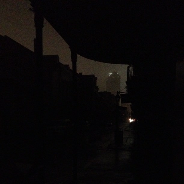 The power out on Bourbon Street, from Cafe Lafitte in Exile looking toward Canal Street. A rare sight from what I'm told.