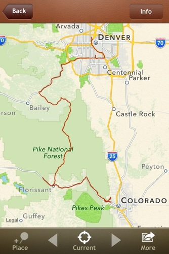The not-so-direct route to Pike's Peak from Denver.