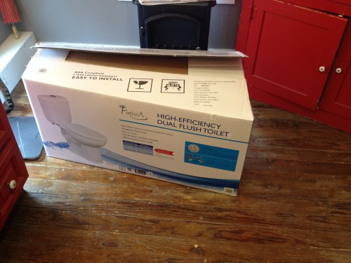 The new toilet. In a box.