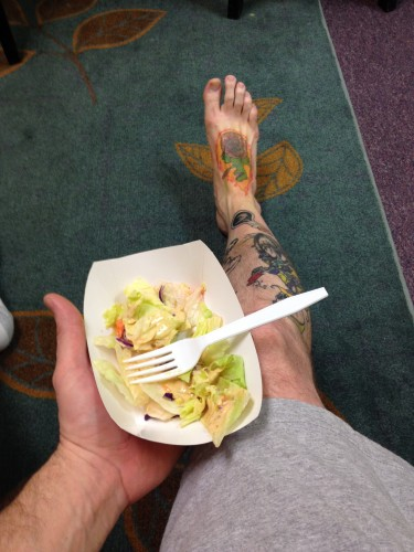 8:52 PM: Quick food break. For some reason I think I need a third tattoo tonight...