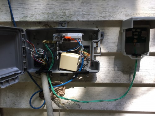 11:01 AM: Adding in a lighting surge suppressor/arrester at the NID. Last Thursday night, lightning once again hit the house, and blew out a bunch of electronics. *ugh*