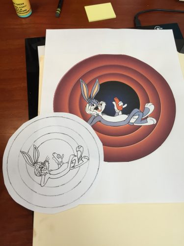11:55 AM: One of the tattoos I'm doing today. It's been a long time since I've done a Bugs Bunny tattoo.
