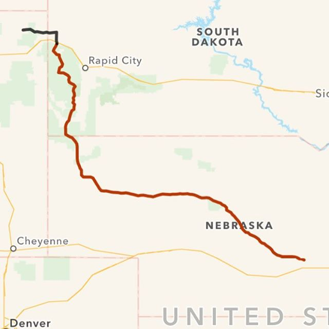 Roughly 568 miles today (my GPS crashed near the end of the day), from Grand Island, Nebraska to Hulett, Wyoming.