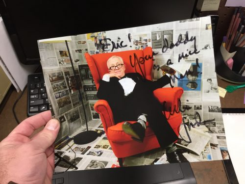 "10:42 AM: Autograph from Leslie Jordan. Someone I call my ""dad"" here is a driver, and got to drive he and his manager around all weekend."