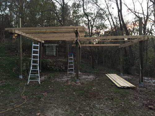 11/13: Next frame up, and overhead boards installed on one.