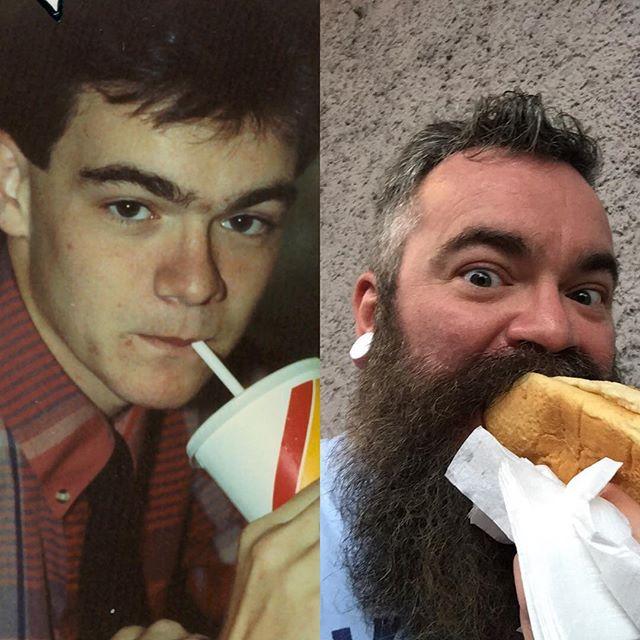The hair has shifted from the top to the bottom. And I'm always eating or drinking, apparently. 1991 / 2017. #tbt