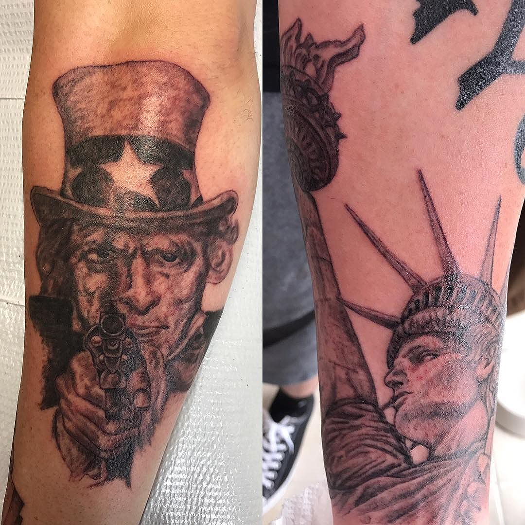 A couple of tattoos from today. I'll figure out how to take better pictures with this new phone soon enough. Both are works in progress.