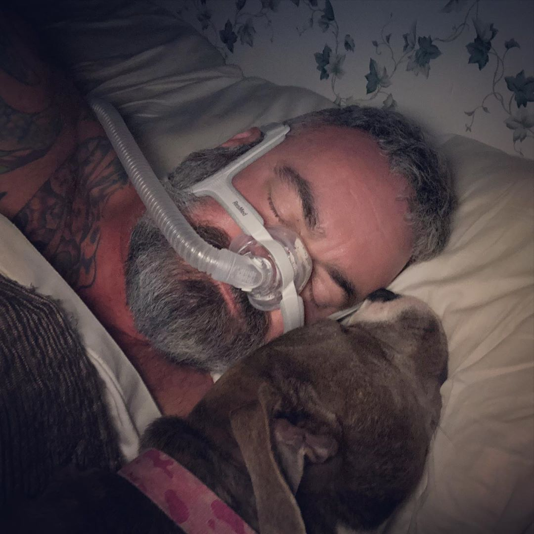 I think Pandora is more accustomed to this stupid thing on my face than I am... #failingatbreathing #stupidCPAP #probablystillgoingtosuffocateinmysleep #atleastmydoglovesme