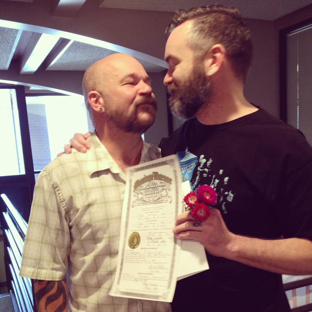 Six years ago today, we were finally legally allowed to get married in Arkansas after having been together for 17 years prior. #lovewins