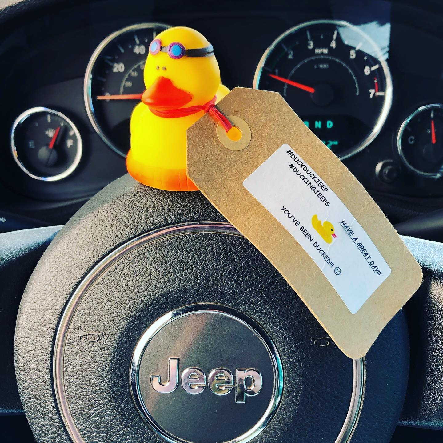 My first... in my Jeep, that is. In the literal hundreds I've received as a tattoo artist over the past 15 years. It's time for me to join a happy movement and pay it forward. #duckingjeeps #duckingjeep #duckingjeepsarkansas