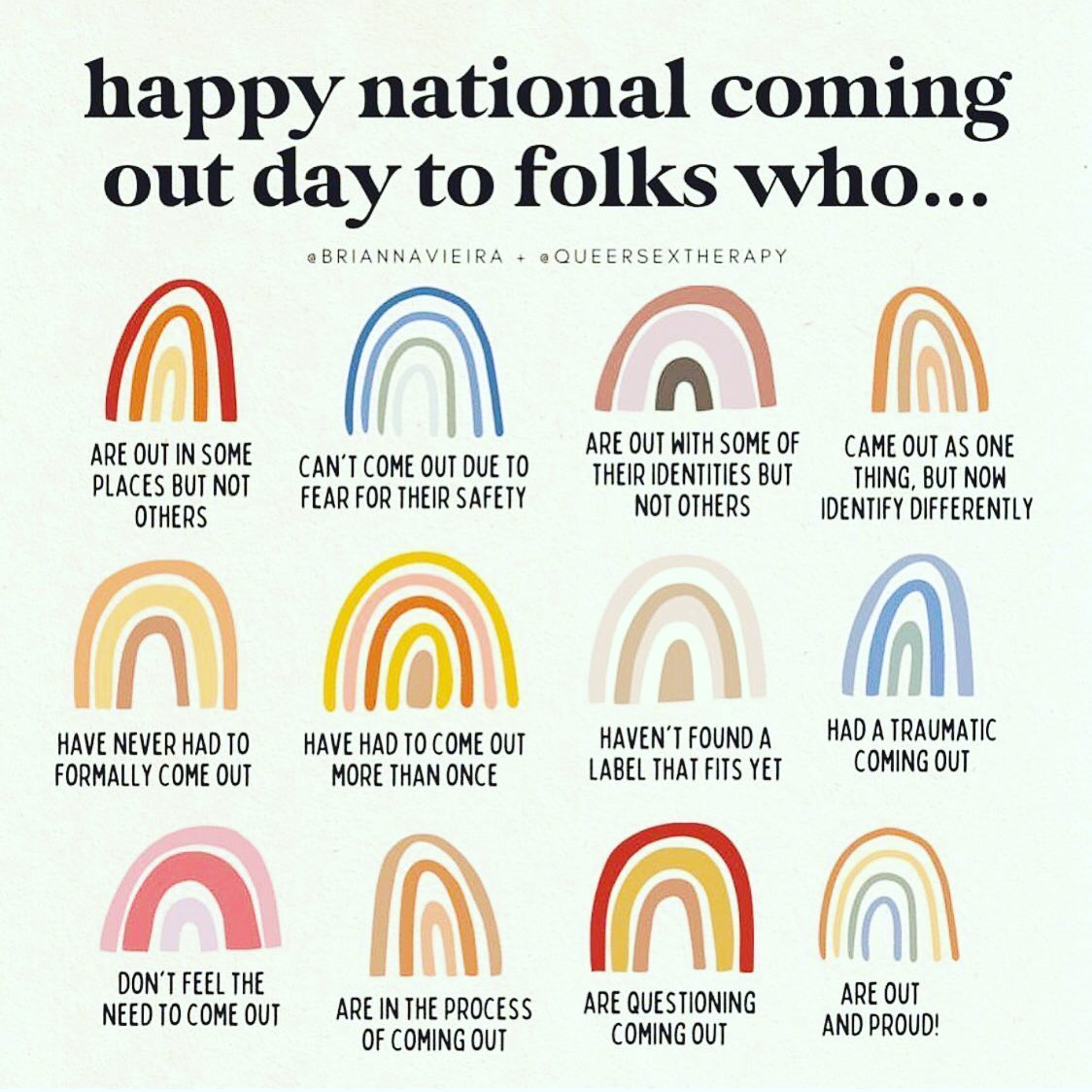 On National Coming Out Day, the only advice I can offer is this: the only person you need to be out to is yourself. Being honest with yourself can be hard work. It can be scary. But in the end it can–and will–save you. It took me years and years to come out to myself, and even longer to come out to anyone else. Even after I started figuring things out, there were many times I backpedaled because of my religious upbringing and self-loathing. Eventually I learned to see that for what it was, and love that part of what makes me, well, me. We all take different paths. Love yourself, and just be the you that you need to be. #ComingOutDay #ComingOutDay2021